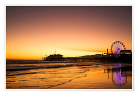 Premium poster Santa Monica Pier in the evening