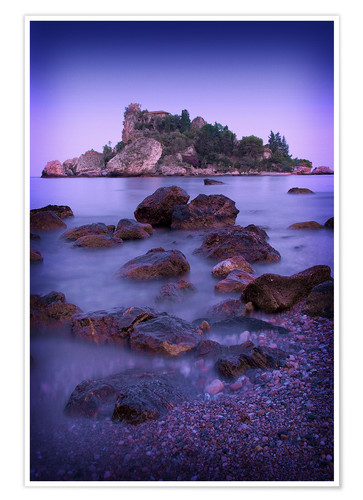 Premium poster Sicily Taormina View of Isola Bella2