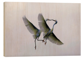 Wood print  Two flying herons at the courtship - Ellen Anon