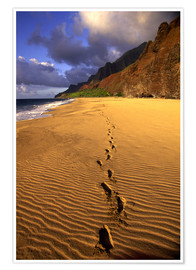 Premium poster Footprints on Kalalau Beach