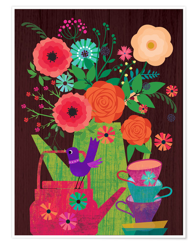 Premium poster Flowers in the coffee pot