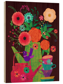 Wood print  Flowers in the coffee pot - Elisandra Sevenstar