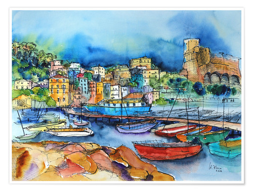 Poster Lerici Liguria At the harbor