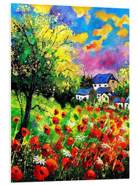 Foam board print  Landscape with poppies - Pol Ledent