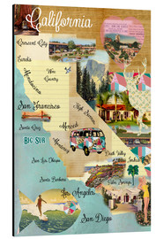 GreenNest - Vintage California Map Collage Poster on wooden background