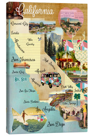 Canvas  Vintage California Map Collage Poster on wooden background - GreenNest