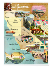 Premium poster Vintage California Map Collage Poster on wooden background