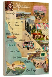 Wood  Vintage California Map Collage Poster on wooden background - GreenNest