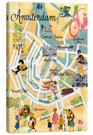 Canvas print  Vintage Amsterdam Collage Poster - GreenNest