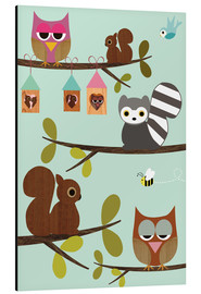 Aluminium print  Happy Tree with cute animals - owls, squirrel, racoon - GreenNest