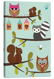 Canvas print  Happy Tree with cute animals - owls, squirrel, racoon - GreenNest