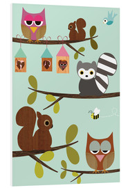 Forex  Happy Tree with cute animals - owls, squirrel, racoon - GreenNest