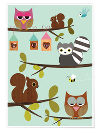Poster Happy Tree with cute animals - owls, squirrel, racoon