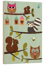 Wood print  Happy Tree with cute animals - owls, squirrel, racoon - GreenNest