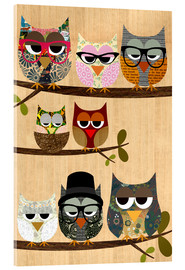 Acrylic print  Nerd owls on branches - my friends and me - GreenNest