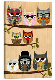 Canvas print  Nerd owls on branches - my friends and me - GreenNest