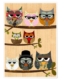 Premium poster Nerd owls on branches - my friends and me