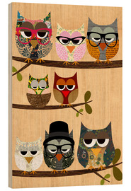 Wood print  Nerd owls on branches - my friends and me - GreenNest
