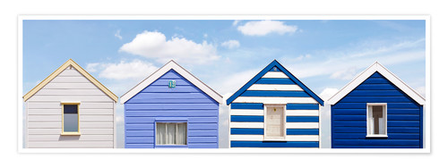 Poster Blue beach huts, England