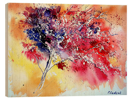 Wood print  Red tree - Pol Ledent
