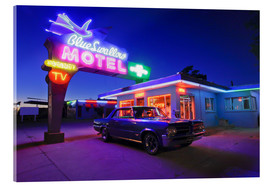 Acrylic print  The famous Blue Swallow Motel in Tucumcari at night - Julien McRoberts