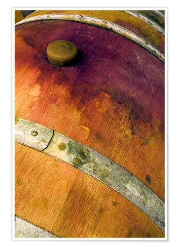 Premium poster Old oak barrel with red wine