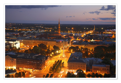 Premium poster The night view of city of Riga