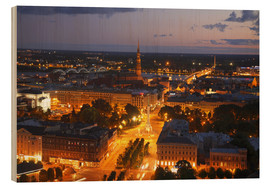 Wood print  Night view of Riga - Bruce Yuanyue Bi