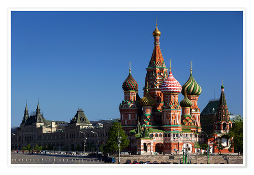 Premium poster St. Basil's Cathedral on Red Square in Moscow