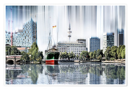 Premium poster  Hamburg Germany World Skyline - Städtecollagen