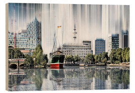 Wood print  Hamburg Germany World Skyline - Städtecollagen