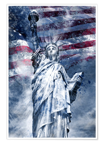 Premium poster Modern Art STATUE OF LIBERTY blue