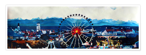 Premium poster Munich Oktoberfest with Alps Panorama