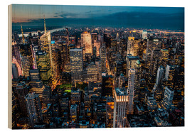 Wood print  New York - sea of lights - Hannes Cmarits