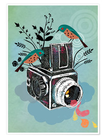 Premium poster Vintage camera with birds