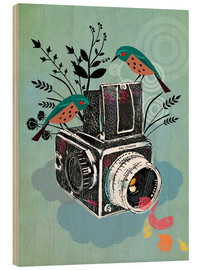 Wood print  Vintage camera with birds - Elisandra Sevenstar