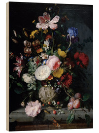Wood print  Still life with flowers in a terracotta vase - Jacob van Walscapelle
