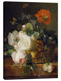 Canvas  Basket of flowers. (1710/20) - Jan van Huysum