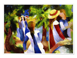 Premium poster  Girls under trees - August Macke