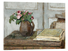 Acrylic glass  Still life with the artist painting set and a vase with moss roses - Edouard Vuillard