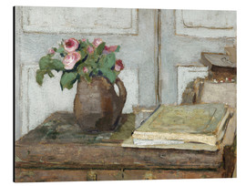 Aluminium print  Still life with the artist painting set and a vase with moss roses - Edouard Vuillard