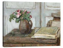 Canvas print  Still life with the artist painting set and a vase with moss roses - Edouard Vuillard