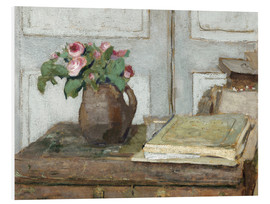 Foam board print  Still life with the artist painting set and a vase with moss roses - Edouard Vuillard