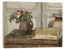 Edouard Vuillard - Still life with the artist painting set and a vase with moss roses