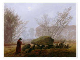 Premium poster  Walk at dusk (man contemplating a megalithic grave) - Caspar David Friedrich