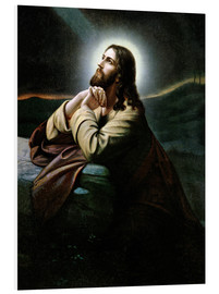 Foam board print  Christ on the Mount of Olives. Nazarene of romanticism.