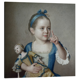 Alu-Dibond  Girl with doll - Jean Etienne Liotard