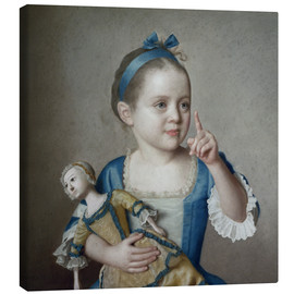 Canvas print  Girl with doll - Jean Etienne Liotard