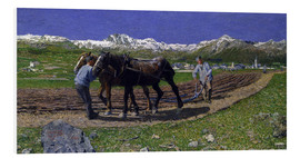 Foam board print  The Ploughing - Giovanni Segantini