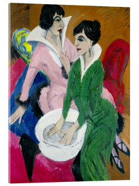 Acrylic print  Two women with washbasin, The sisters - Ernst Ludwig Kirchner